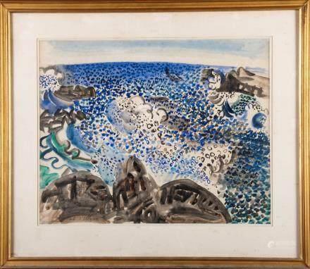 Raoul DUFY (1877-1953) LE PORT D'ULYSSE. Aquarelle signée et située en bas à ga