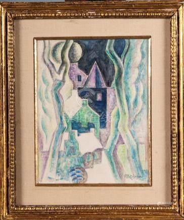 METZINGER d'après  Paysage cubiste  Gouache 21 x 16,5 cm