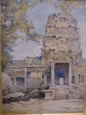 Marius HUBERT-ROBERT Temple au Cambodge et Palais Impérial Deux aquarelles form