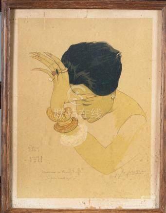 LAFUGIE Dessin rehaussé  Portrait d'une danseuse de Phnom Penh 32 x 24 cm