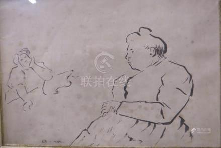 Albert MARQUET d'après Deux femmes discutant  Gravure en noir monogrammée en ba