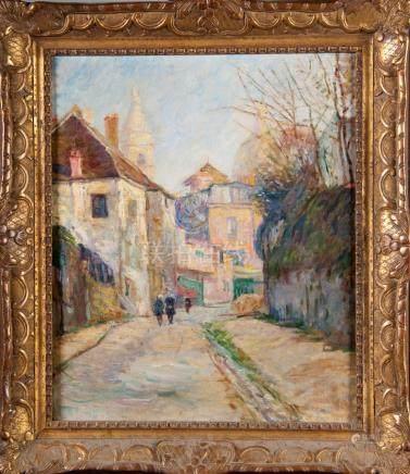 Ecole Française post impressionniste Probablement Vue de Montmartre Huile sur t