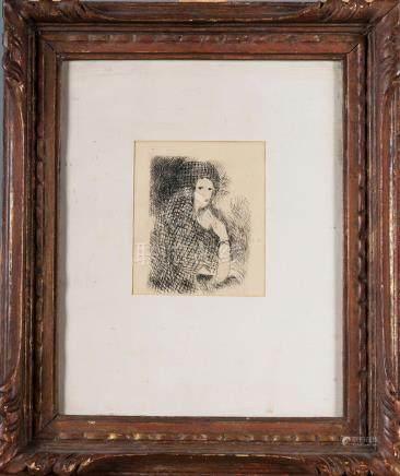 Entourage de Marie LAURENCIN Portrait de femme Estampe en noir
