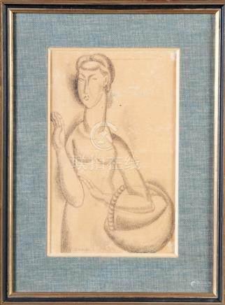 Ossip ZADKINE (1890-1967) Jeune femme au panier, 1921 Dessin au fusain signé et