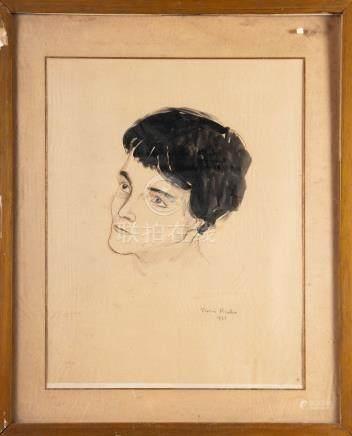 Francis PICABIA  Tête de jeune femme Dessin au crayon et aquarelle signé en bas