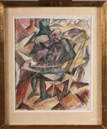 Jacques VILLON Homme lisant son journal Aquarelle et gouache 24 x20 cm Porte un