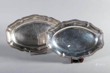 Plat ovale à contours en argent poinçon Minerve L 41 cm
