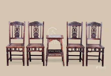 清代(1644-1911) 红木嵌大理石四方台 红木花卉纹椅 (五件一组)