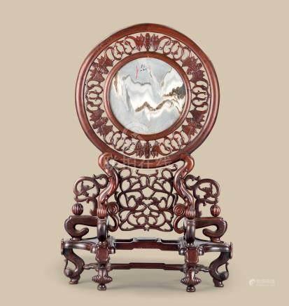民国(1912-1949) 红木嵌大理石螭龙蝠纹座屏