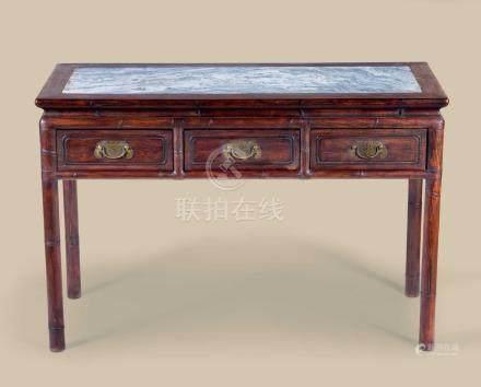 红木嵌大理石竹节纹办公桌