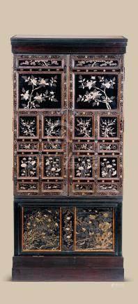 红木大漆嵌螺钿四季花卉纹佛龛