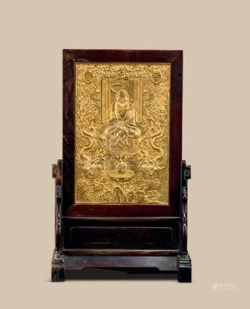 红木嵌铜鎏金罗汉纹插屏