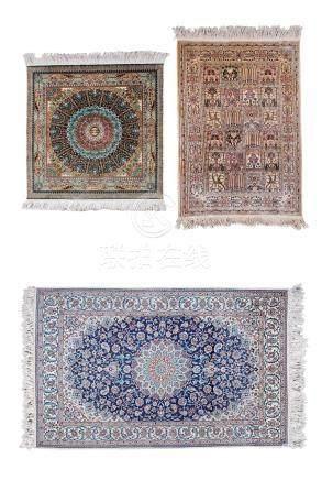 花卉纹地毯 丝毯 (三件一组)