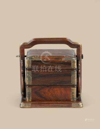 清代(1644-1911) 黄花梨小提梁盒
