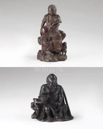 竹雕药师、竹雕观音(二件一组)