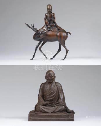 清 铜嵌银仙翁骑鹿香熏、罗汉(二件一组)