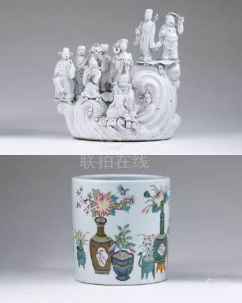 清光绪 粉彩博古图笔筒、清 德化白瓷八仙过海(二件一组)