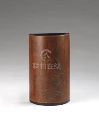 清 竹雕底背衬黑檀轿瓶形式笔筒