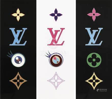村上隆-LV (三件一组)super flat colorful、I love super flat(黑)、I love super flat(白)
