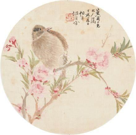 任伯年-桃花小鸟团扇