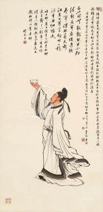 黄均-李白行吟图