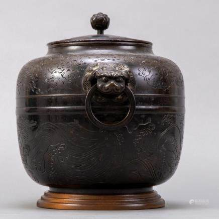 19th c. Japanese Covered Bronze Pot in Oval Form