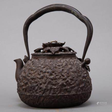 Japanese Meiji Iron Kettle with Silver and Gold Inlay