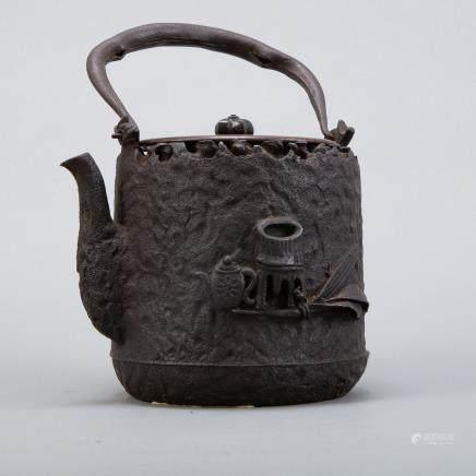 Meiji Japanese Iron Kettle Attributed to Ryubundo