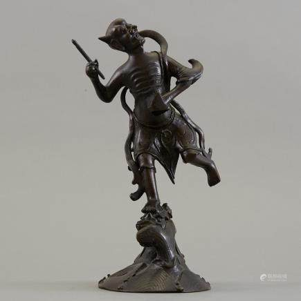 20th c. Japanese Bronze Okimono of an Oni and Dragon