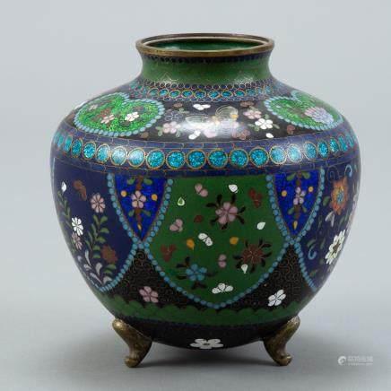 Japanese Meiji Cloisonne Vase - Flowers