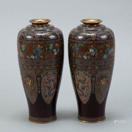 Japanese Meiji Mirrored Pair of Cloisonne Vases