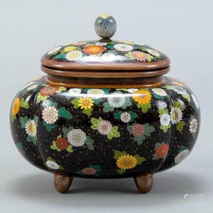 Japanese Meiji Cloisonne Covered Urn