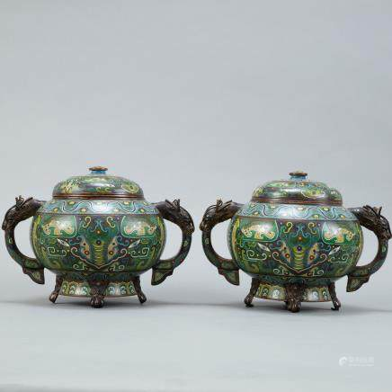 Pr 20th c. Chinese Cloisonne Covered Bowls