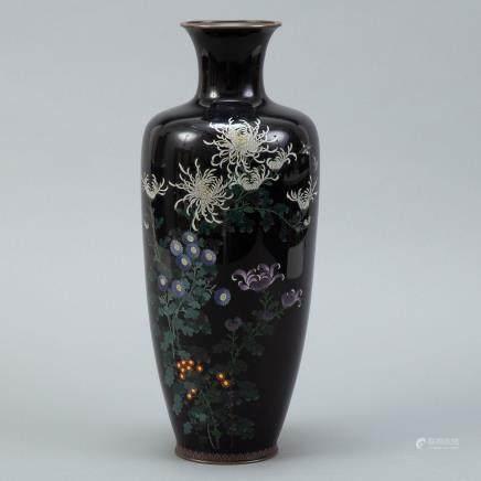 Large Japanese Meiji Cloisonne Vase - Org Sticker