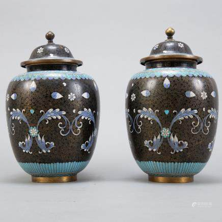 Pair 20th c. Chinese Cloisonne Vases