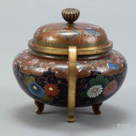 Japanese Meiji Cloisonne Covered Handled Jar