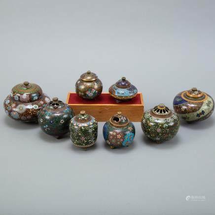 Grp: 8 Japanese Meiji Cloisonne Censers