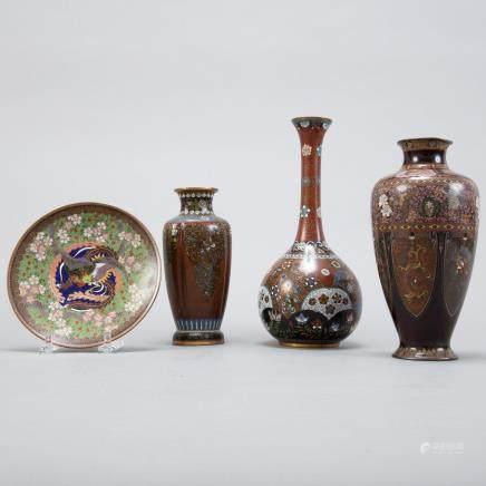 Grp 4 Japanese Meiji Cloisonne Pieces