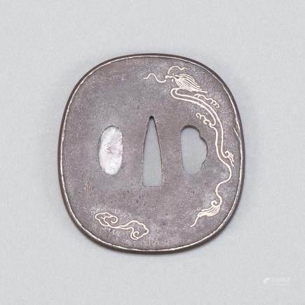 Japanese Edo Period Iron Tsuba with Silver Inlay