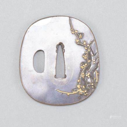 Japanese Edo Bronze Tsuba w/ Gold Silver Inlay