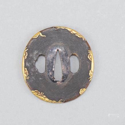 Japanese Edo Shakudo Plated Katana Tsuba Gold