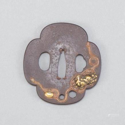 Japanese Edo Period Iron Tsuba with Shishi Dog