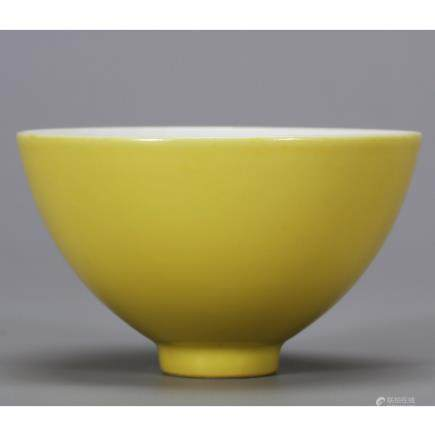 CHINESE YELLOW GROUND PORCELAIN BOWL