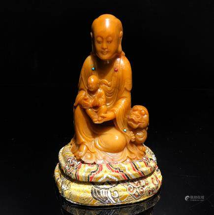 CHINESE TIANHUANG SOAPSTONE CARVED GUANYIN