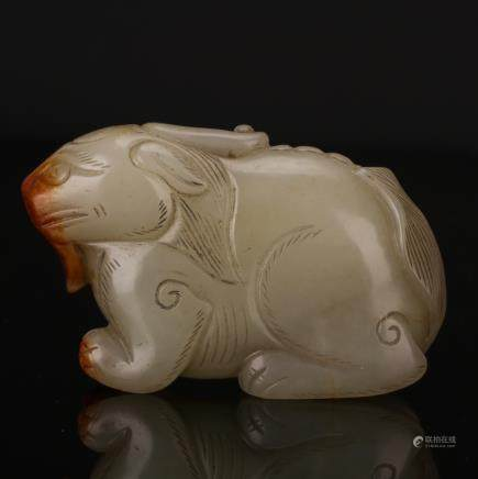 CHINESE JADE CARVED BEAST