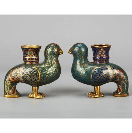 CHINESE CLOISONNE BIRD VASES, PAIR