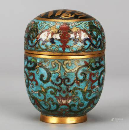 CHINESE CLOISONNE COVER JAR