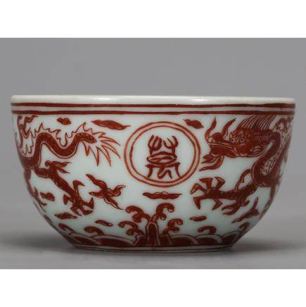 CHINESE IRON RED GLAZED PORCELAIN BOWL