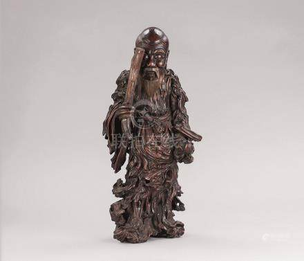 木根雕寿星立像