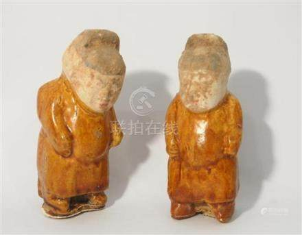 A Pair of Dwarf Standing Figures, with Amber Glaze, Tang Dyn